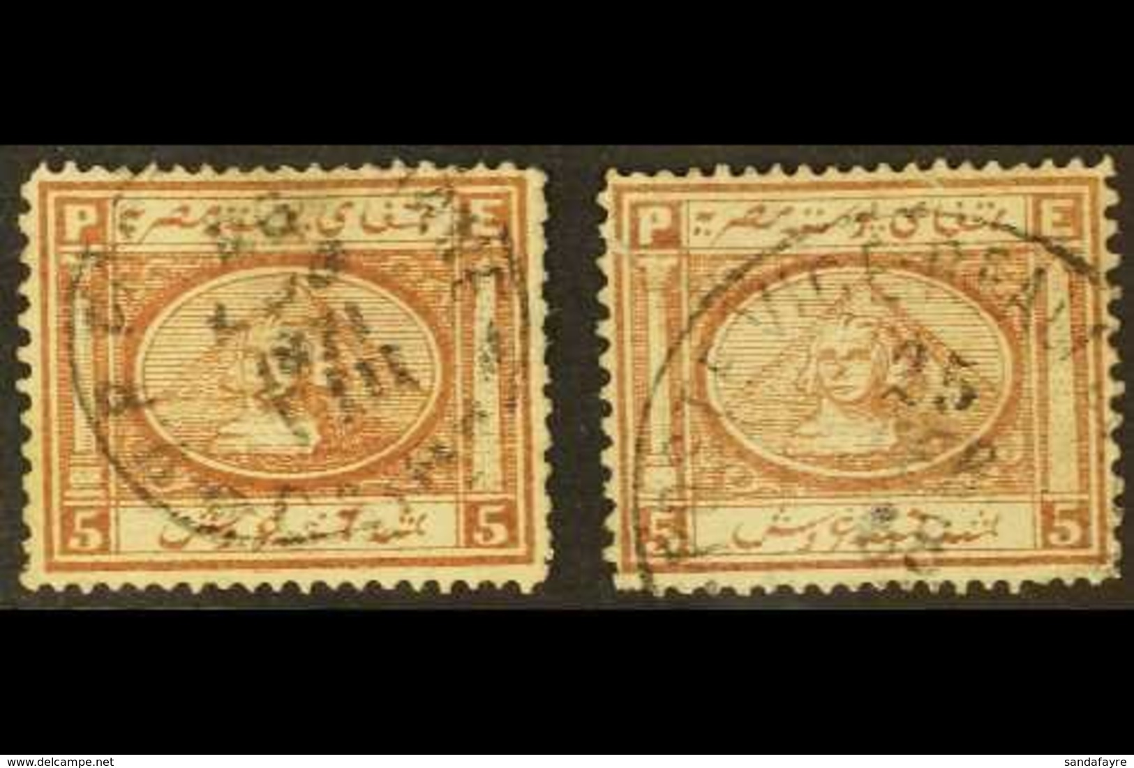 1867-71 5pi Brown, Type I & IV Examples, SG 16, Both With Small Faults, But C.d.s. Used, Cat.£360 (2 Stamps). For More I - Egypt