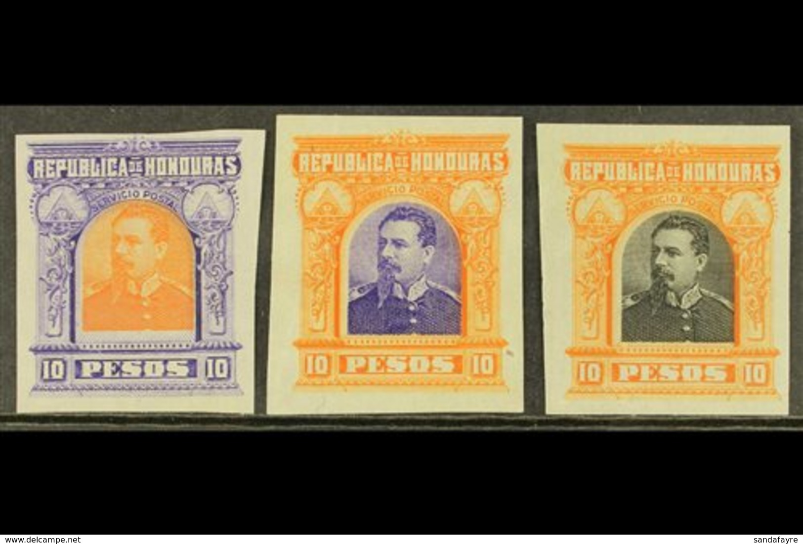 1891 10p President Brogan Large Design (as SG 69) - Three IMPERF PLATE PROOFS Printed In Different Colour Combinations O - Honduras