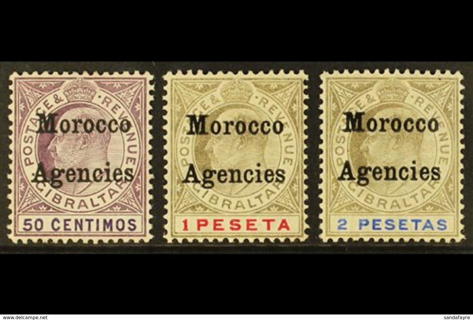 GIBRALTAR ISSUES OVERPRINTED: 1905-06 50c, 1p And 2p, SG 28/30, Fine Mint. (3) For More Images, Please Visit Http://www. - Morocco (1891-1956)