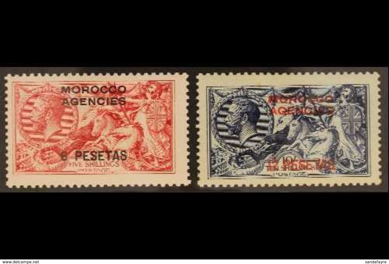 SPANISH CURRENCY 1914-26 6p On 5s Rose-carmine & 12p On 10s Indigo-blue, Waterlow Printings, SG 137/8, Very Fine Mint (2 - Morocco (1891-1956)