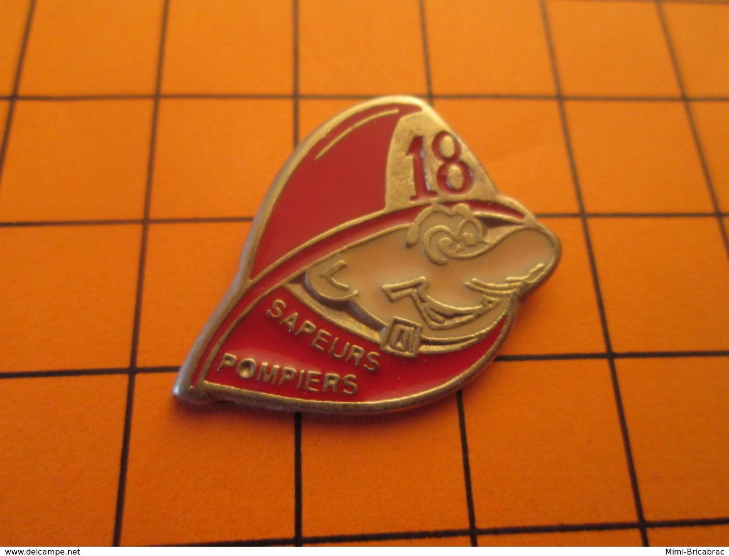 718c Pins Pin's / Rare & Belle Qualité  THEME POMPIERS / SAPEURS POMPIERS LE 18 - Brandweerman