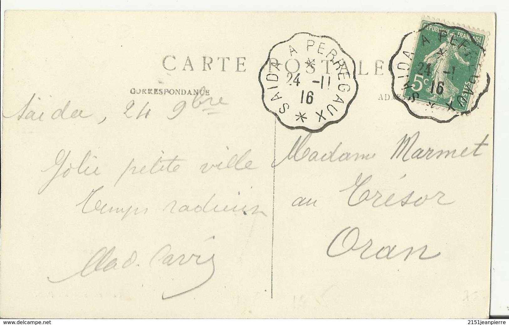 Saïda à Perregaux  Convoyeur T3 / CP De Saïda  Place De La Mairie - Marcophilie (Lettres)