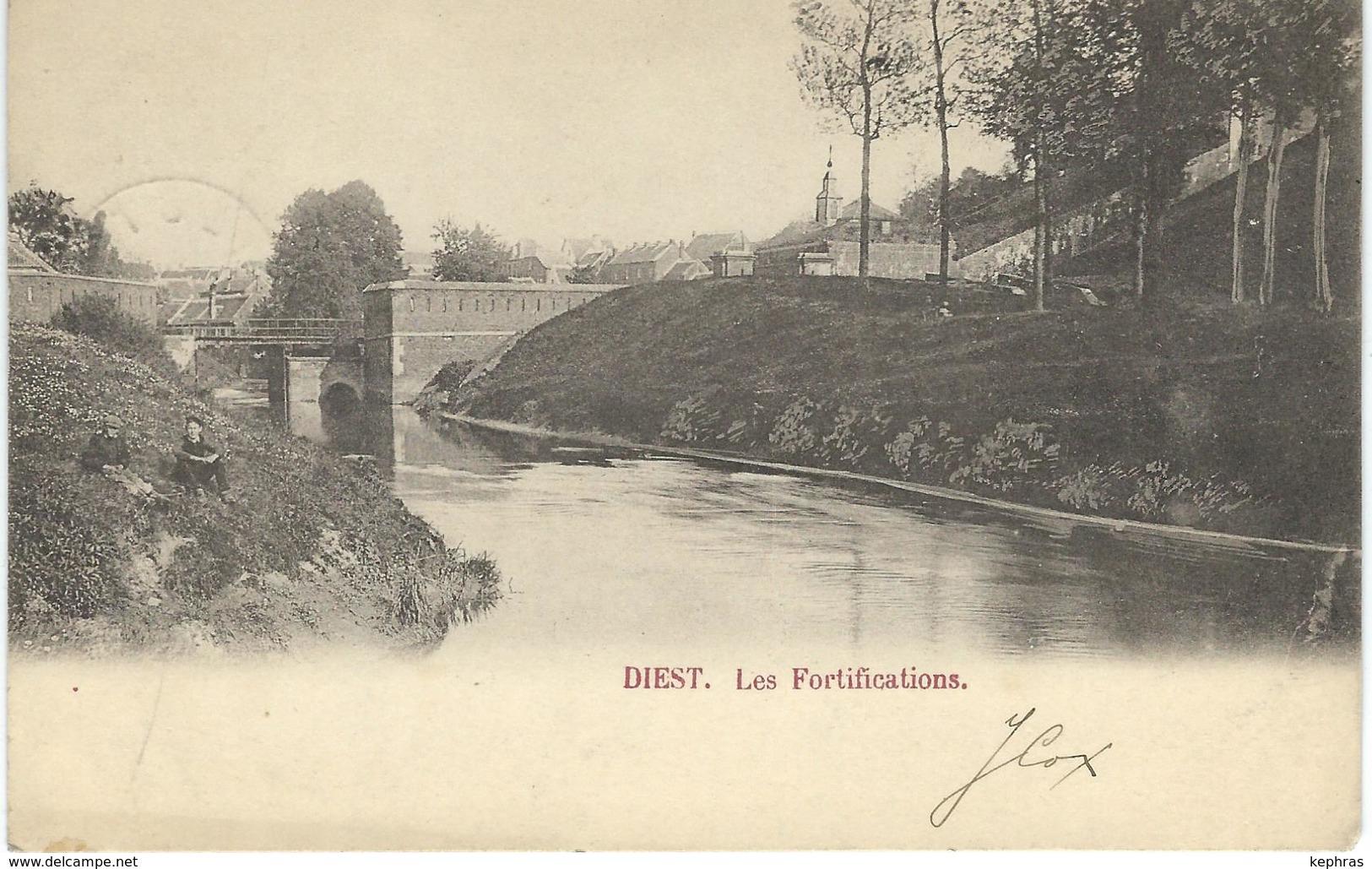 DIEST : Les Fortifications - Cachet De La Poste 1902 - Diest