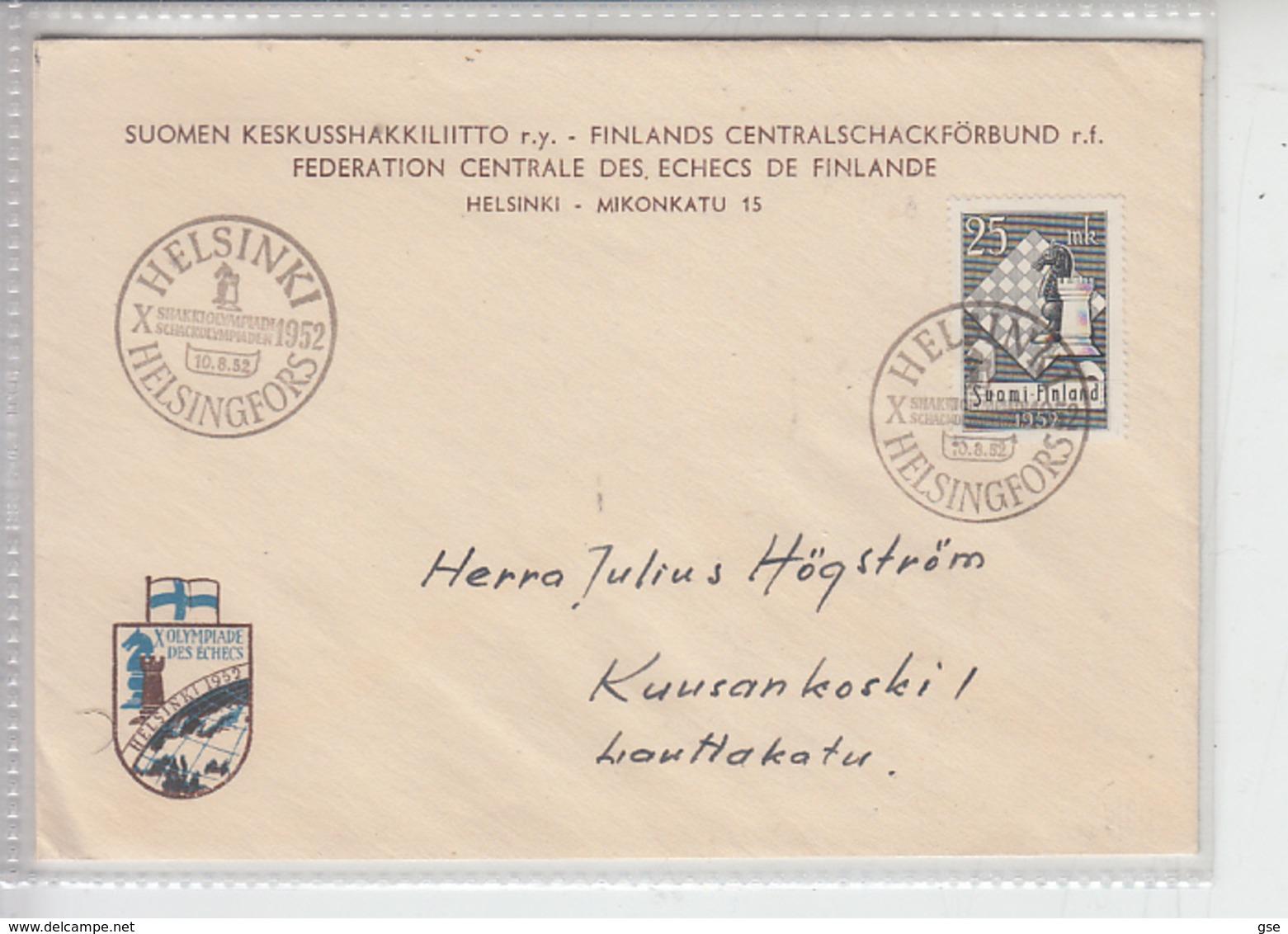 FINLANDIA  1952 - FDC - Unificato 395 - Scacchi - Scacchi