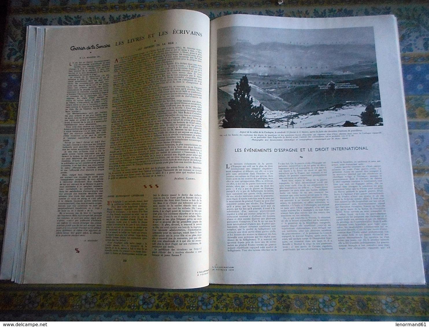L ILLUSTRATION 25/02/1939 FUNERAILLES PAPE PIE XI ESPAGNE GUERRE LE PERTHUS BARCELONE BARCELONA TCHECOSLOVAQUIE PRAGUE - Journaux - Quotidiens