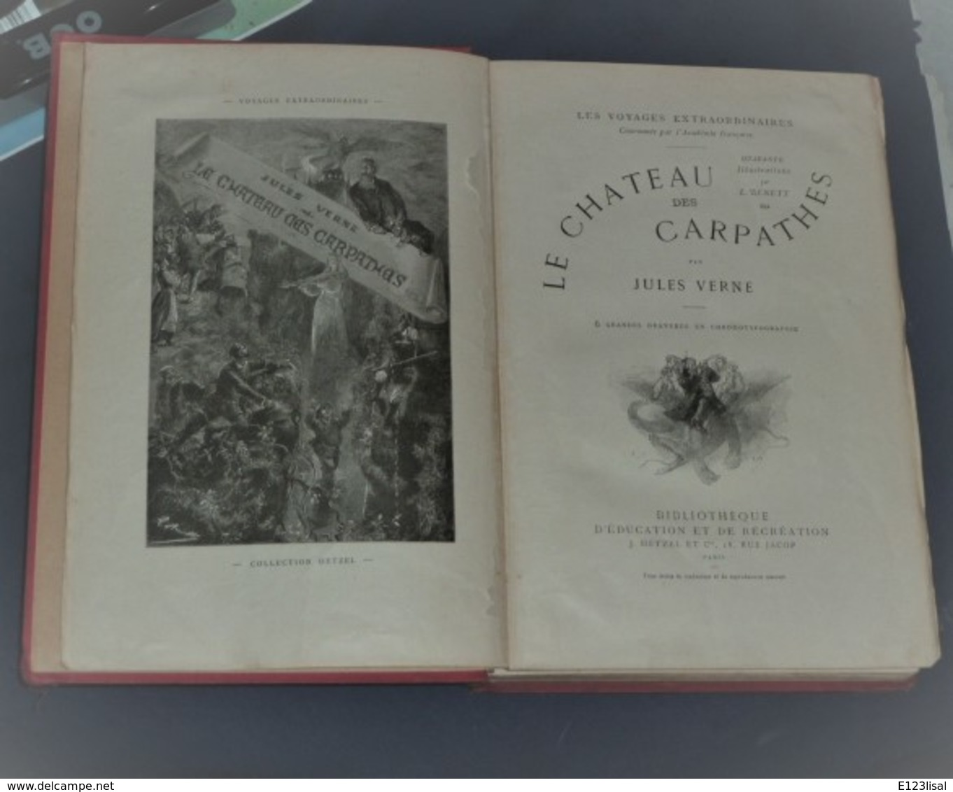 """Jules VERNE """"Le Chateau Des Carpathes"""" J. Hetzel, Paris 1892, Grd. In-8 (18x27,3cm), Relié. - Livres, BD, Revues"""