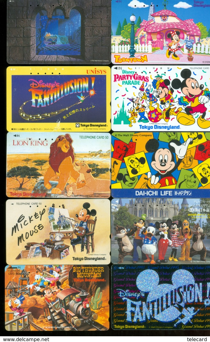 10 Télécartes Différentes DISNEY JAPAN (LOT 6)  10 DIFFERENT PHONECARDS DISNEY  * 10 VERSCHIEDENE TELEFONKARTEN DISNEY - Disney