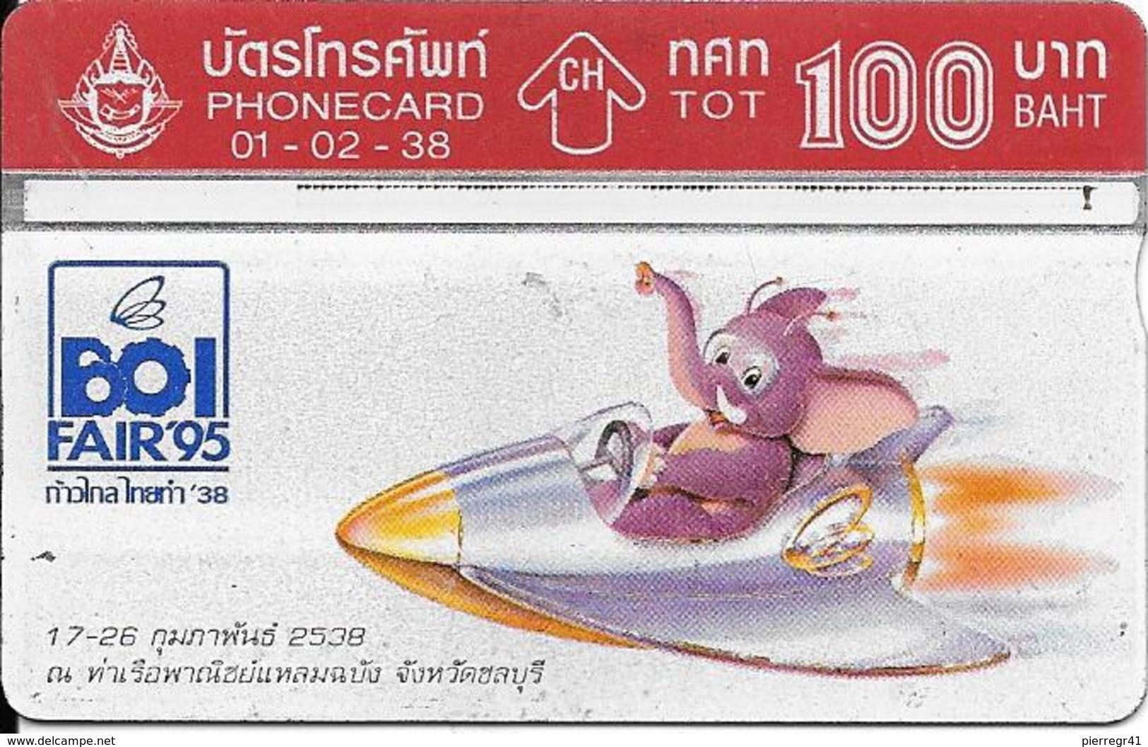 CARTE THAILANDE HOLOGRAPHIQUE-100Bath-1995-BOI FAIR 95-Elephanteau En Avion!!-Utilisé-TBE - Thaïlande