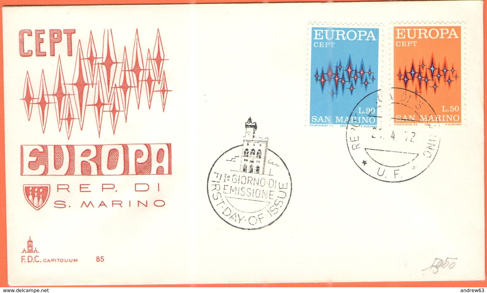SAN MARINO - 1972 - Europa CEPT - FDC - Capitolium - 1972