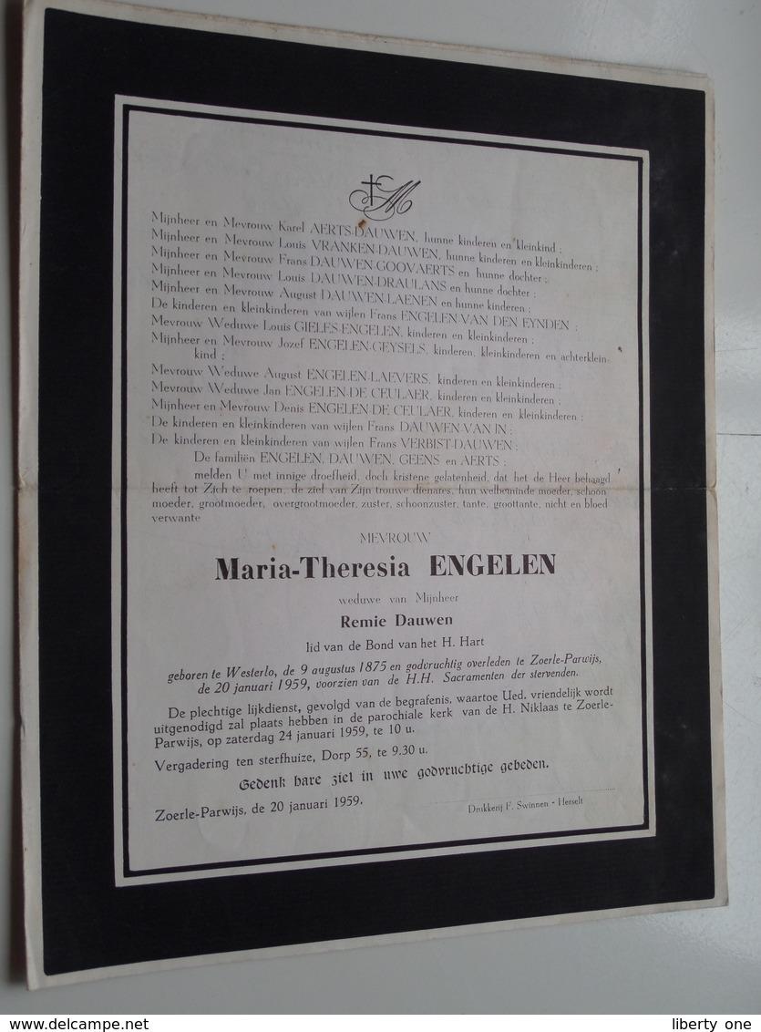 DB Maria-Theresia ENGELEN ( Remie Dauwen ) Westerlo 9 Aug 1875 > Zoerle-Parwijs 20 Jan 1959 ( Zie Photo ) ! - Avvisi Di Necrologio