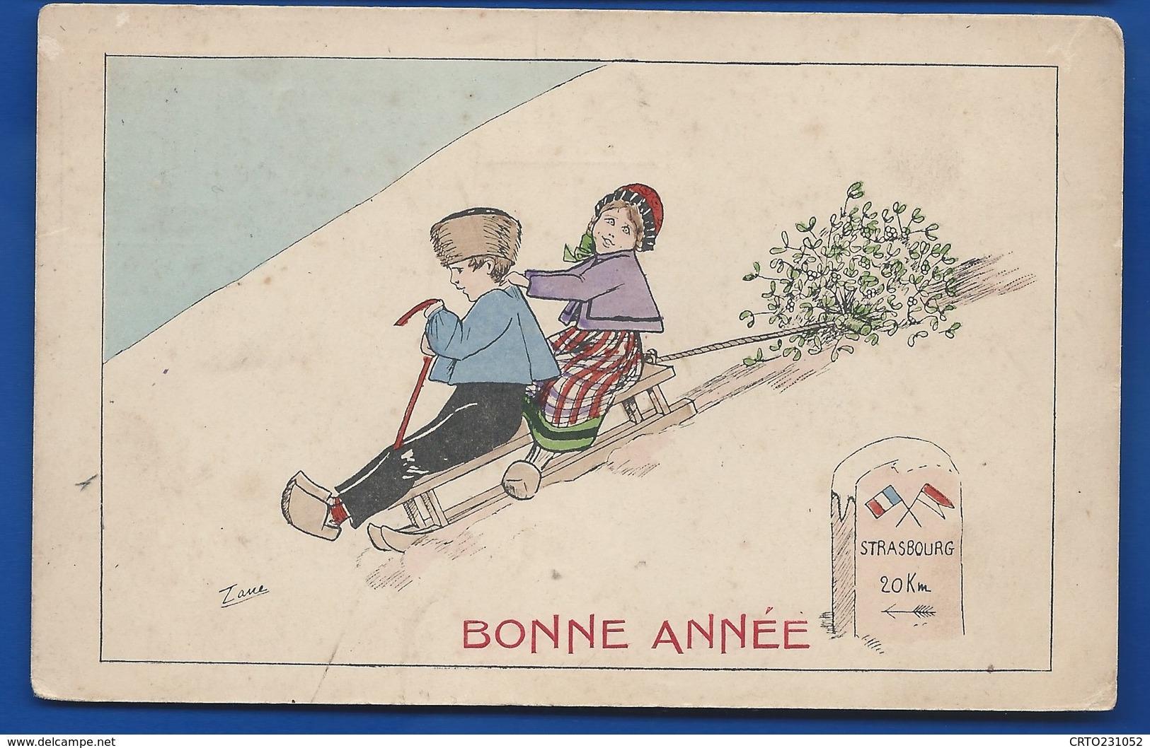 Enfants Sur Une Luge   STRASOURG 20 Km    BONNE ANNEE - Neujahr