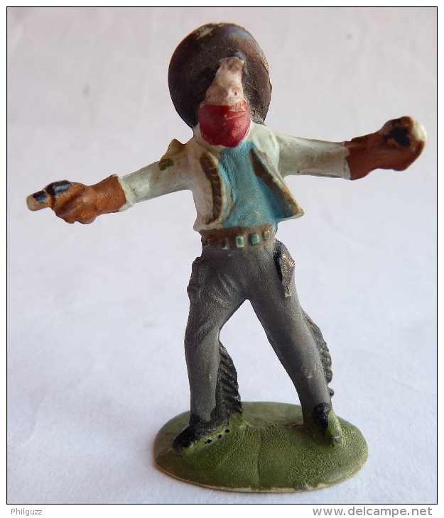 Figurine CYRNOS Far West MEXICAIN MEX 10 Bandit Masqué 2 Revolvers (2) Gris 50's Pas Starlux Clairet - Starlux