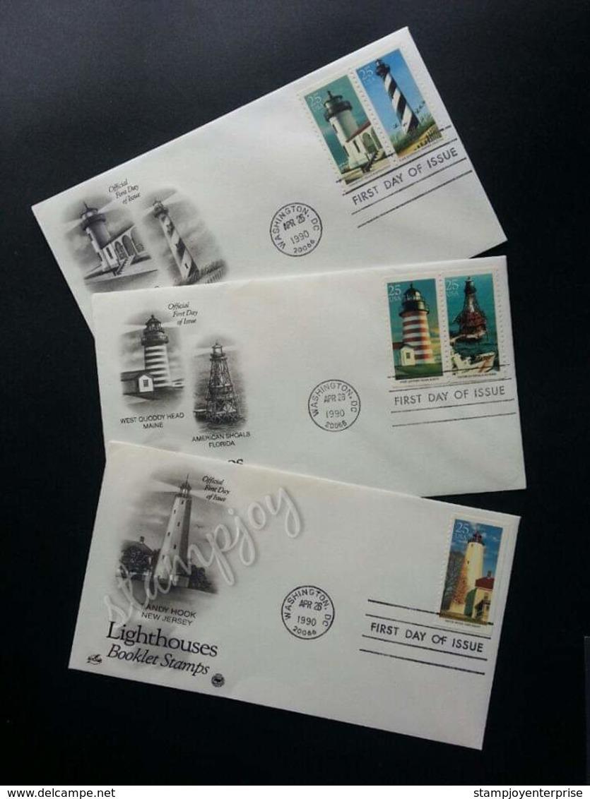 USA United States Lighthouse 1990 Marine Lighthouses (FDC Set) - Etats-Unis