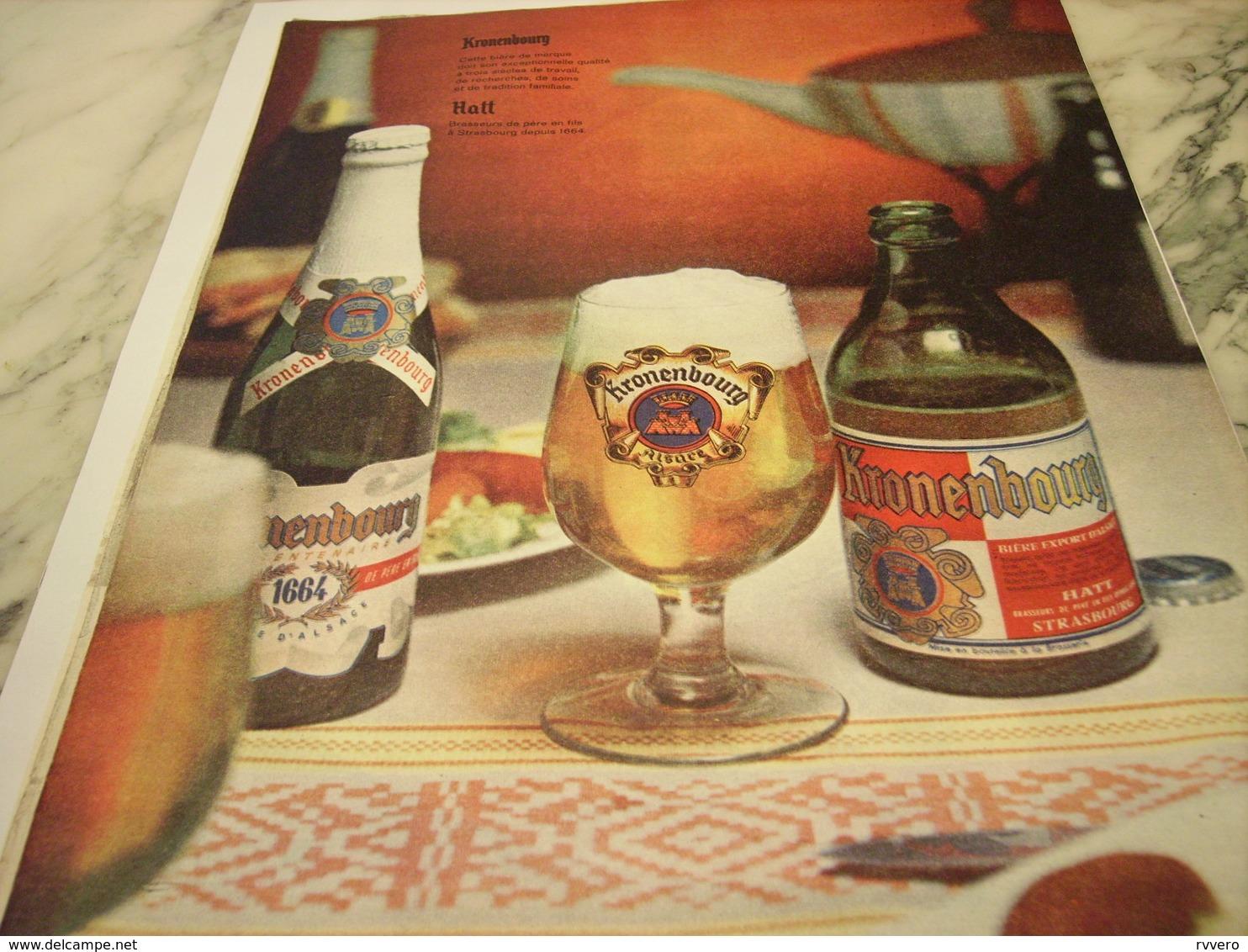 ANCIENNE PUBLICITE BIERE KRONENBOURG 1961 - Alcools
