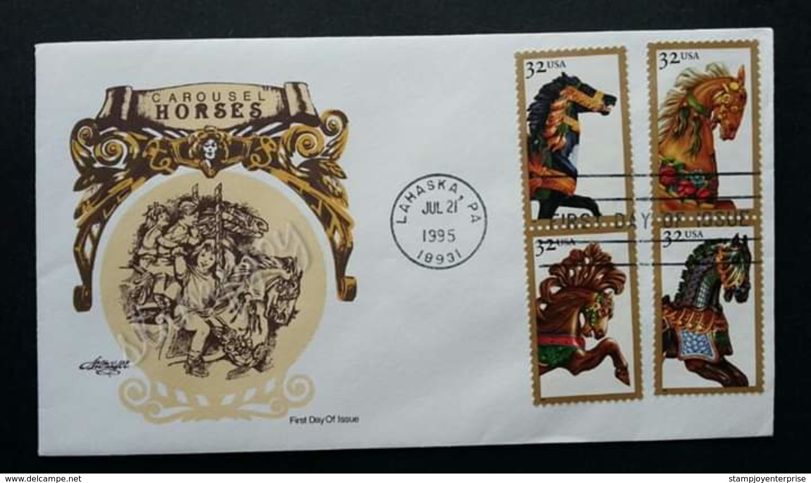 USA United States Carousel Horse 1995 (stamp FDC) - Covers & Documents