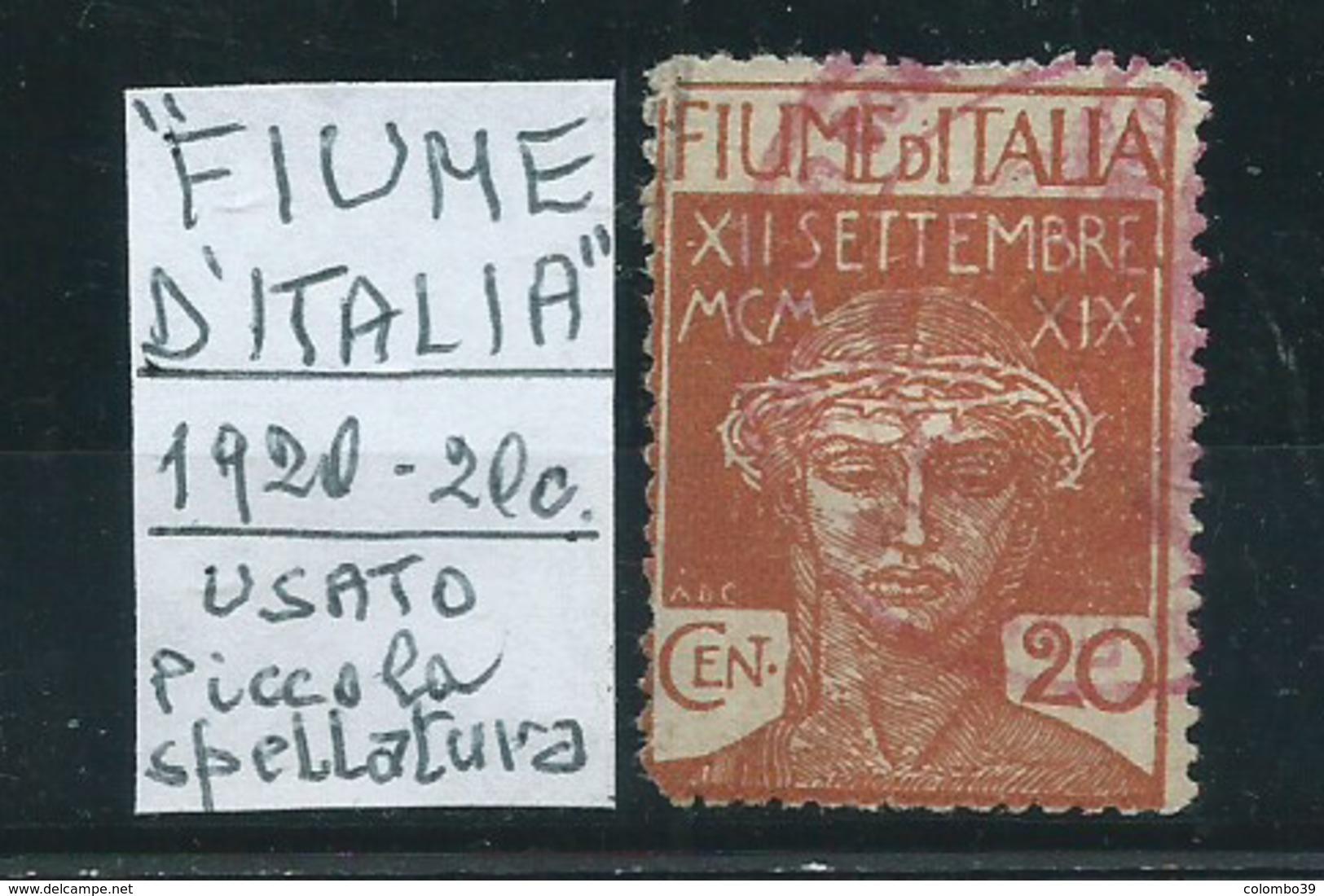 """1920 20c """"FIUME D'ITALIA"""" Anzichè """"Poste Di Fiume"""" - Usato - Legg. Spellatura - 9. Occupazione 2a Guerra (Italia)"""