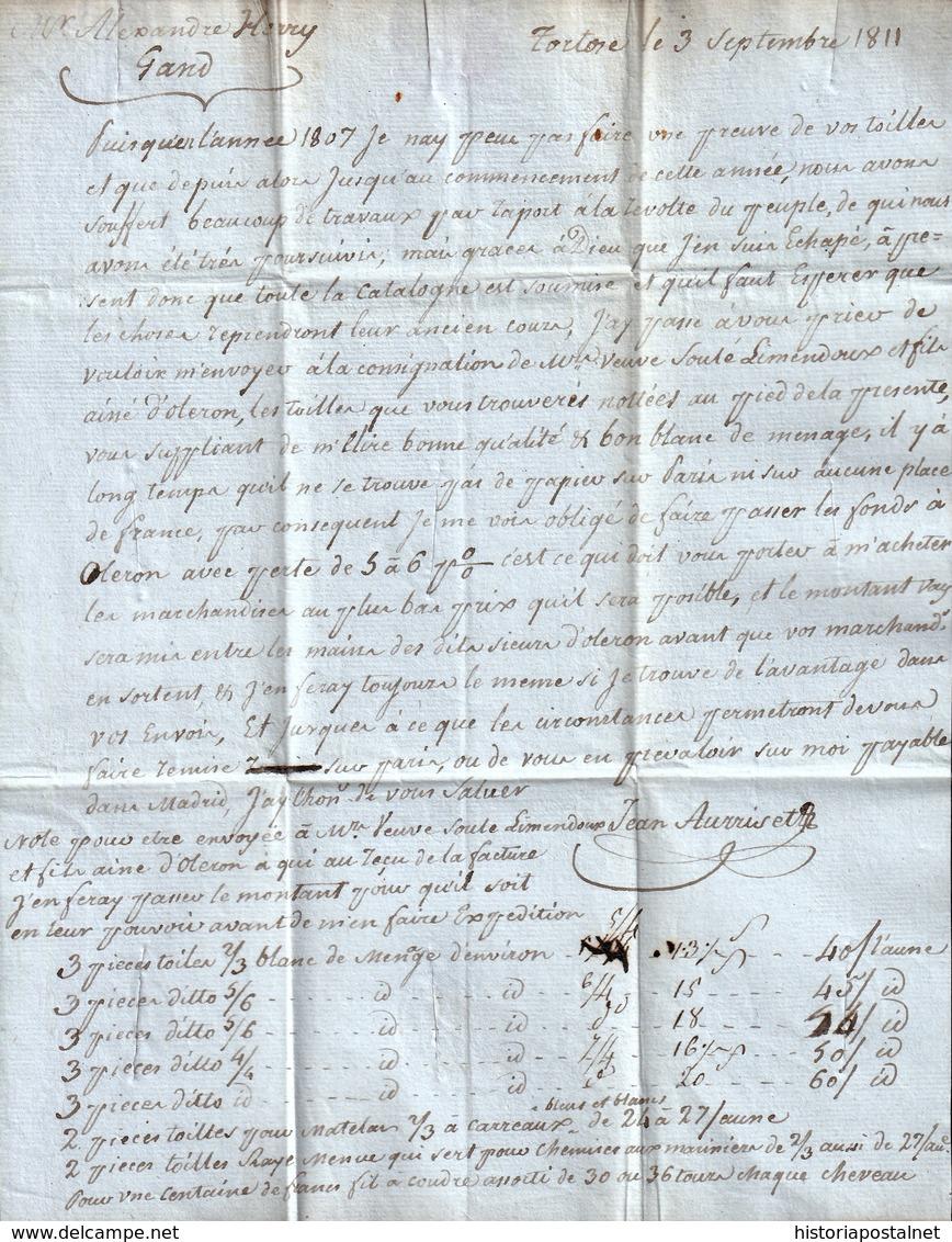 """1811. TORTOSA A GANTE. MARK """"Nº 3/BAU PRINCIPAL/ARM.D'ESPAGNE"""" (IX-83). PORTEO MNS. """"11"""" DÉCIMAS. DESINFECTADA. INÉDITA. - Marcofilia (sobres)"""