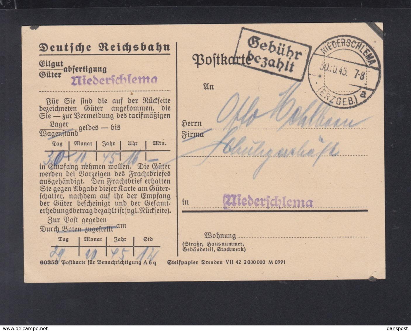 Dt. Reichsbahn Niederschlemma PK Gebühr Bezahlt 1945 - Sowjetische Zone (SBZ)