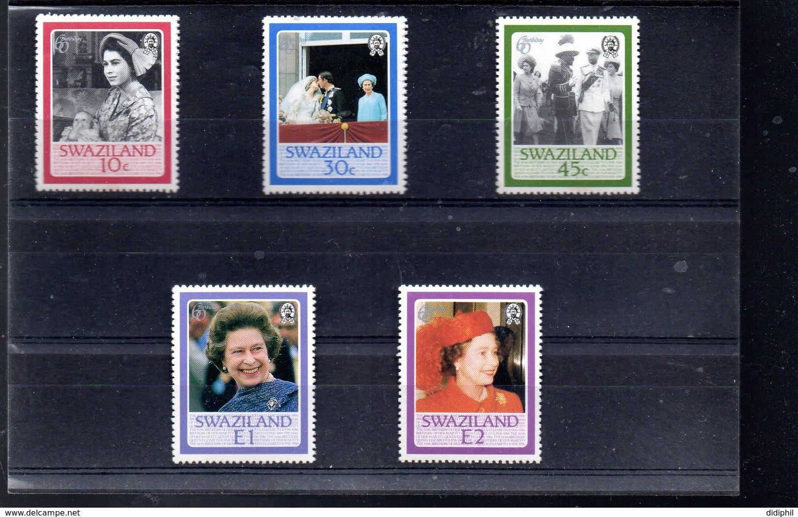 SWAZILAND 496/500** SUR LES 60 ANS DE LA REINE - Swaziland (1968-...)