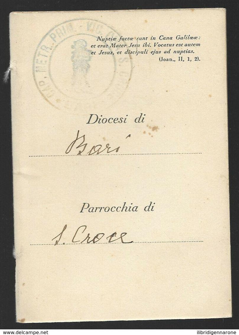 LIBRETTO DI FAMIGLIA SANTA LEGA EUCARISTICA MATRIMONIO BARI PARROCCHIA S. CROCE - Historical Documents