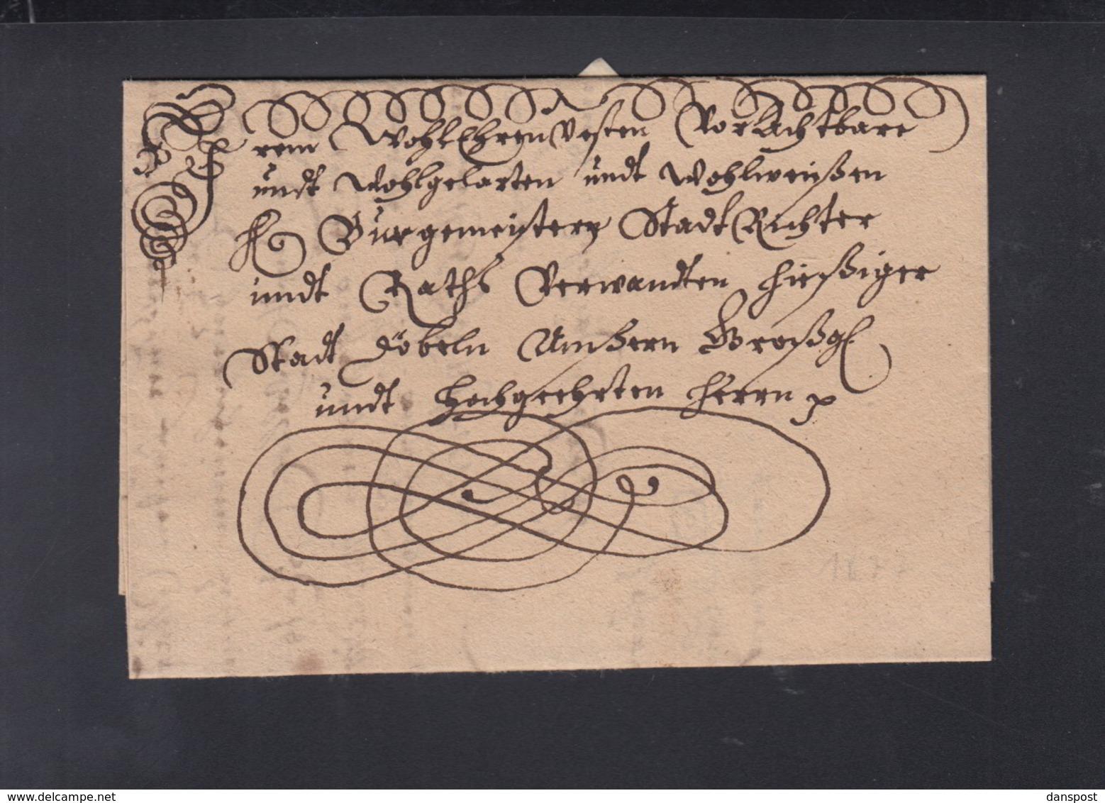 Schnörkelbrief 1677 - Duitsland