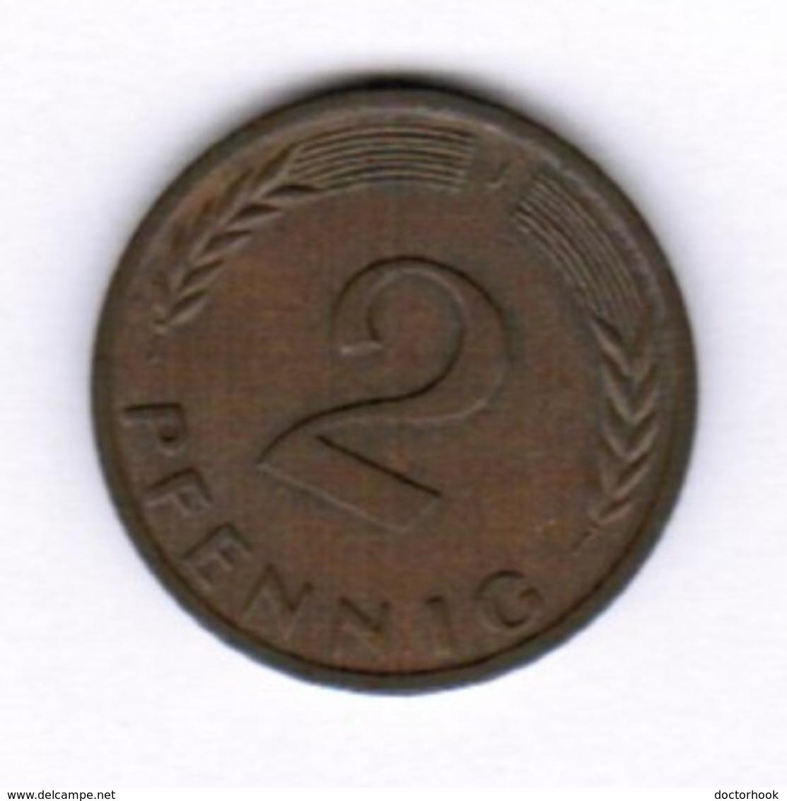 """GERMANY  2 PFENNIG 1966 """"J"""" (KM # 106) #5288 - [ 7] 1949-… : FRG - Fed. Rep. Germany"""
