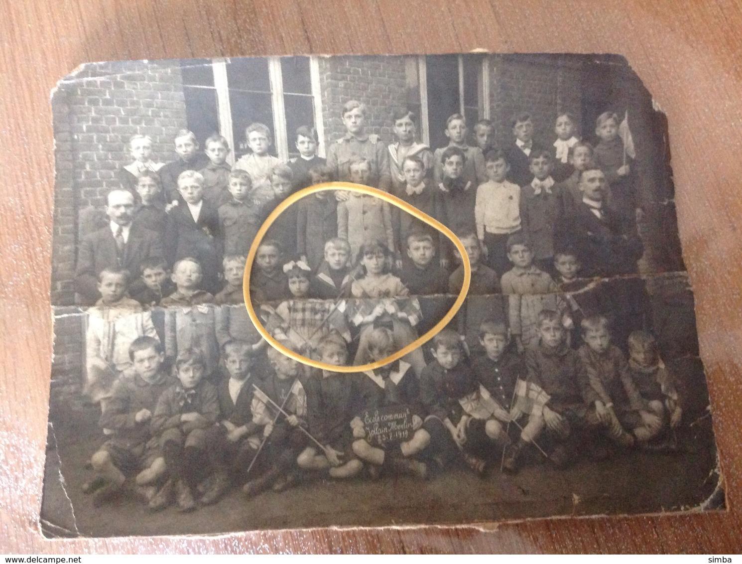 Hollain Merlin Photo Ecole Communale  1919 En Mauvais état - Brunehaut