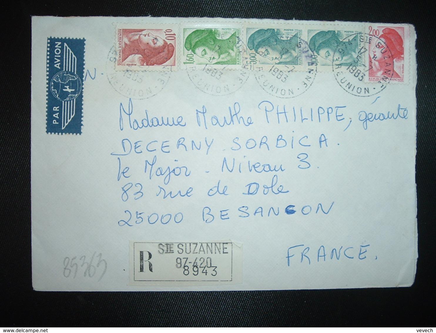 LR TP LIBERTE 5,00 Paire + 2,00 ROUGE + 1,60 VErT + 0,10 OBL.5-7 1983 974 STE SUZANNE REUNION - Marcophilie (Lettres)