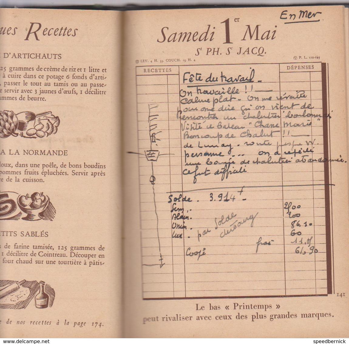 Journal De Bord De Paul Le Coz - Loctudy- Ecole Mousses - Sur Agenda Printemps 1937 Bateau Marin Football - Manuscrits