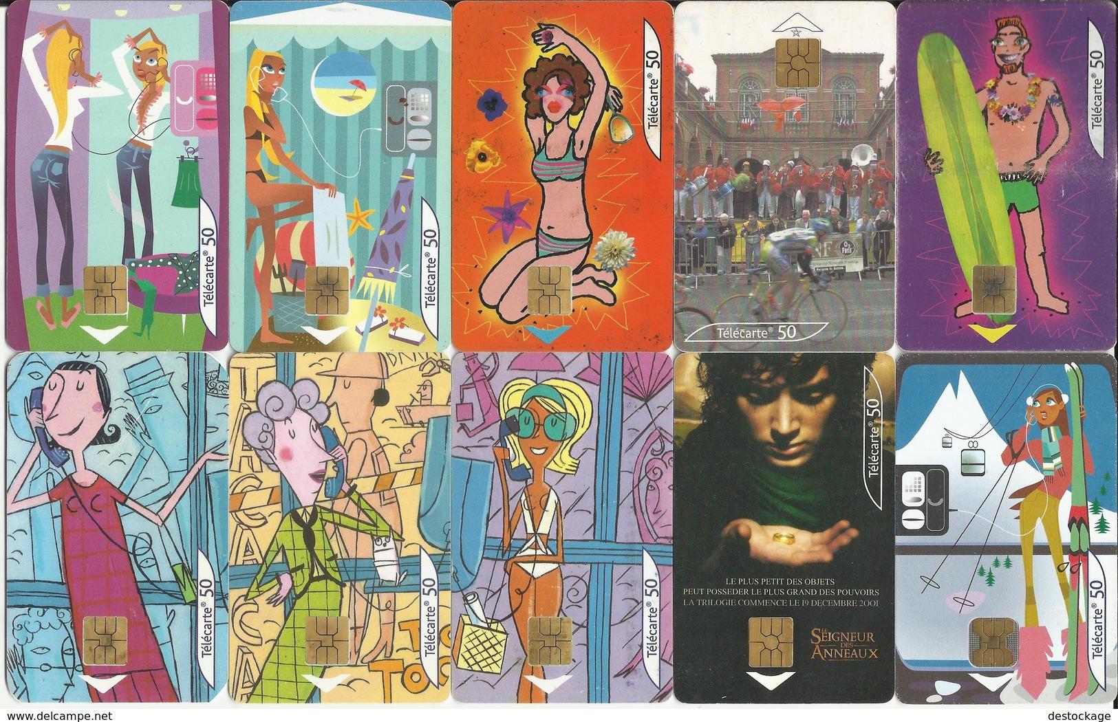 """LOT De 10 Télécartes , FRANCE TELECOM """" ILLUSTREES De 2001  """" Voir Scans - Lots - Collections"""