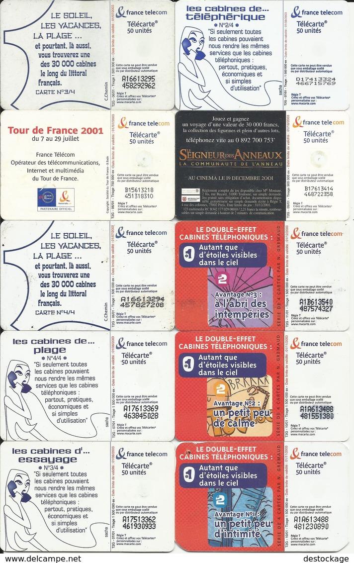 """LOT De 10 Télécartes , FRANCE TELECOM """" ILLUSTREES De 2001  """" Voir Scans - Télécartes"""