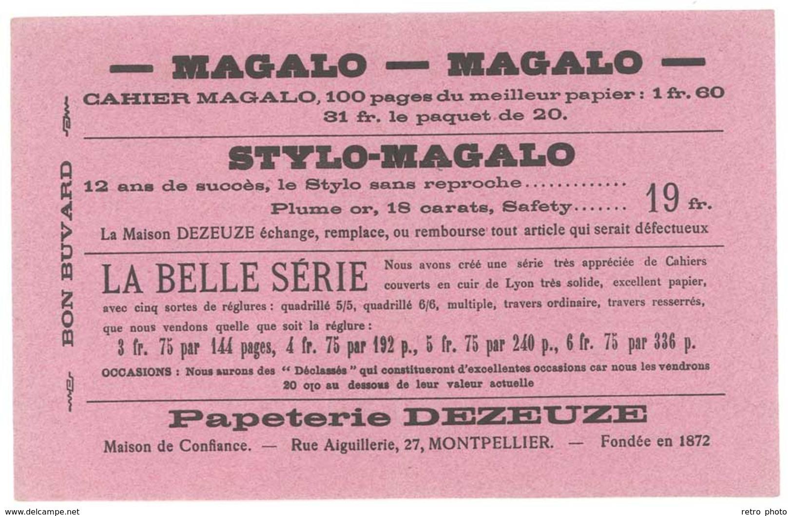 Buvard Magalo , Stylo-Magalo, Papeterie Dezeuze, Montpellier - Carte Assorbenti