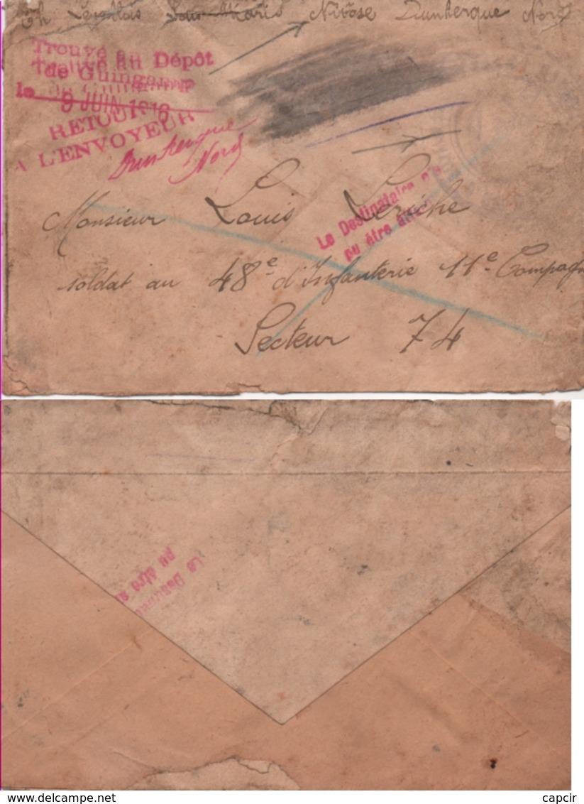 1916 Enveloppe Cachet Marine Française. A Bord Du Sous-Marin Nivose. Dunkerque. Nord - Postmark Collection (Covers)