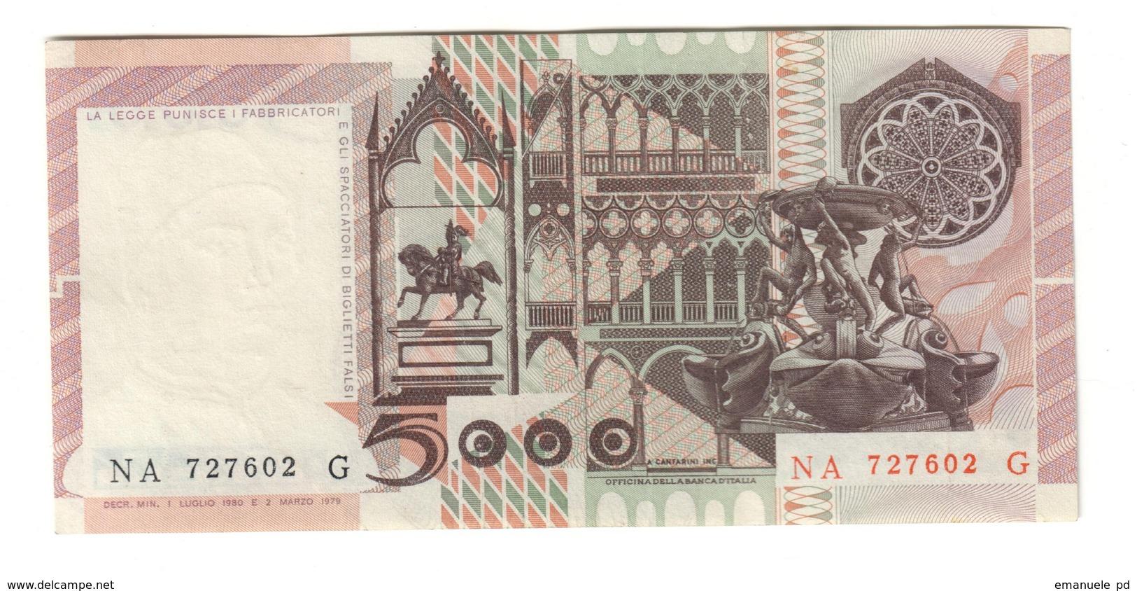 Italy 5000 Lire 01/07/1980 AUNC / SUP - 5000 Lire