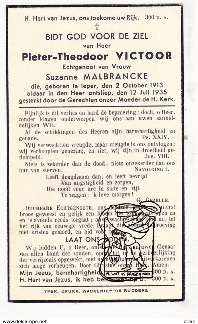 DP Pieter T. Victoor 21j. ° Ieper 1913 † 1935 X Suzanne Malbrancke / G. Gezelle - Images Religieuses