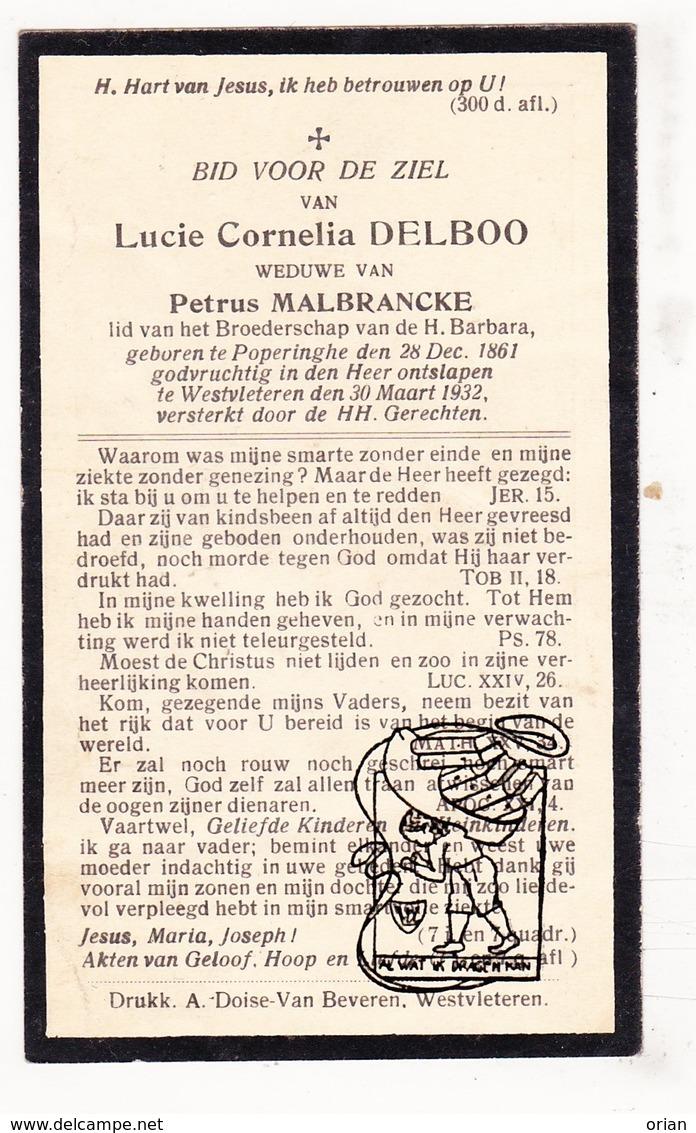 DP Lucie C. Delboo ° Poperinge 1861 † WestVleteren Vleteren 1932 X Petrus Malbrancke - Images Religieuses