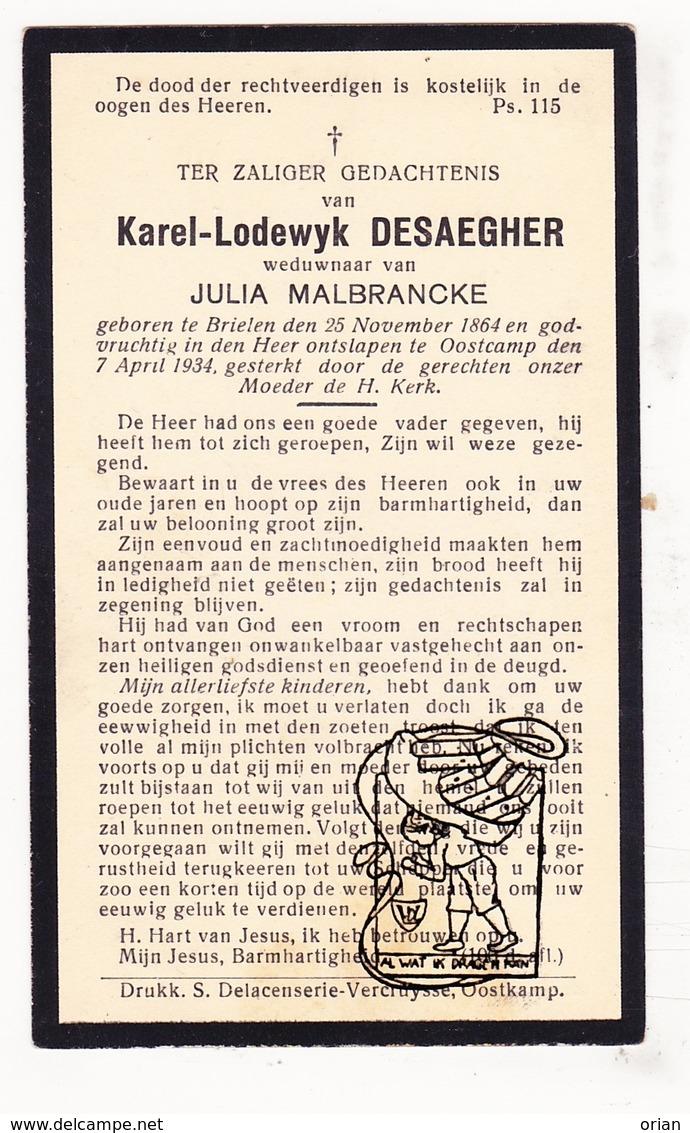 DP Karel Lodewijk Desaegher ° Brielen Ieper 1864 † Oostkamp 1934 X Julia Malbrancke Maelbrancke - Images Religieuses