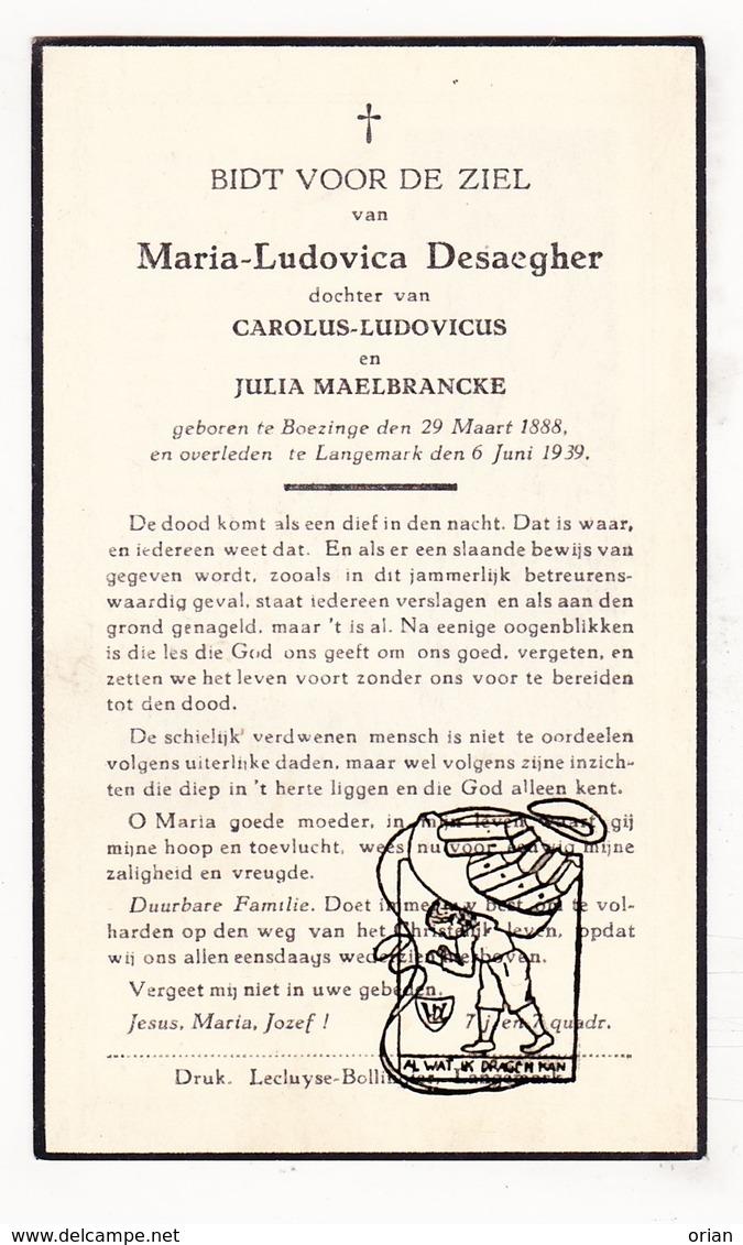 DP Maria L. Desaegher / Maelbrancke Malbrancke ° Boezinge Ieper 1888 † Langemark 1939 - Images Religieuses