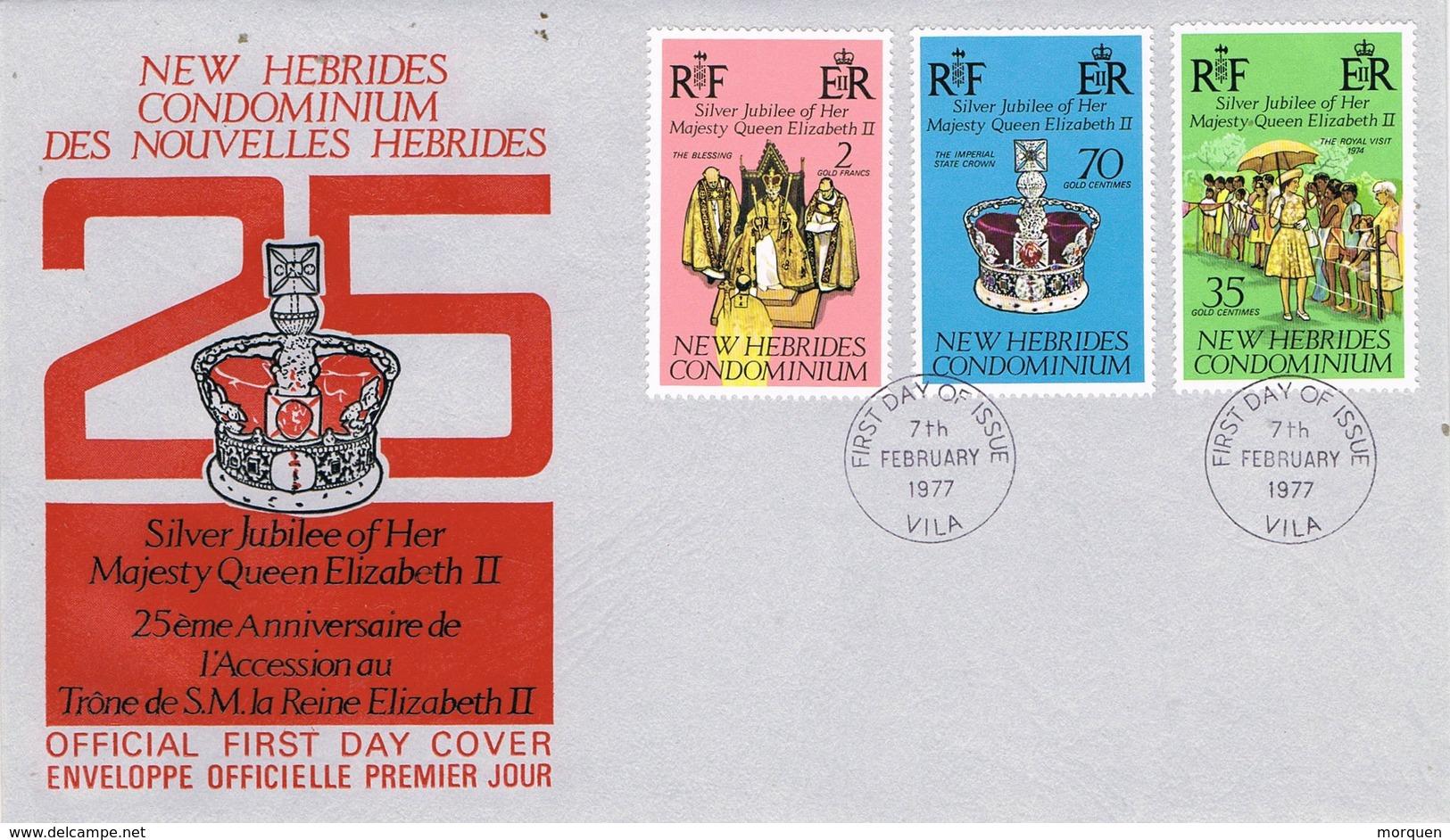 33039. Carta F-D.C.  VILA, Condominium NEW HEBRIDAS 1977. Silver Jubilee Elisabeth II - Cartas