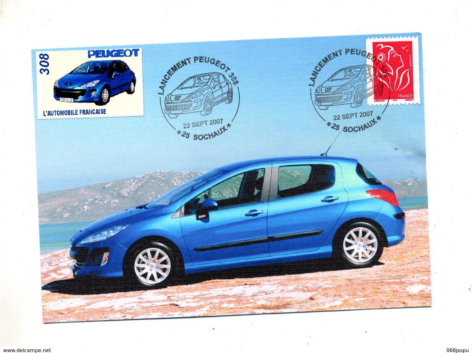 Carte Cachet Sochaux Lancement Peugeot 308 + Vignette Sur Roulette Vue Voiture - Marcophilie (Lettres)