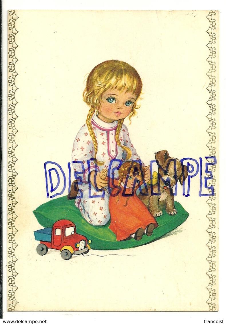 Petite Fille Blonde, Poupée, Petit Chien, Camion. 1974 - Illustrateurs & Photographes