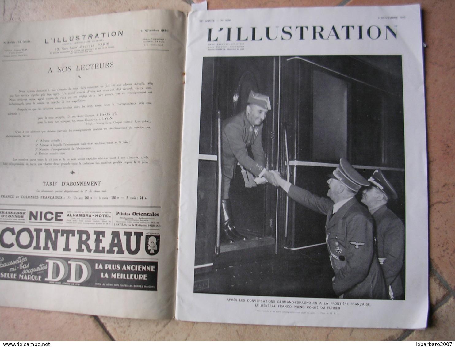 L'ILLUSTRATION  N° 5096 - 9 NOVEMBRE 1940 - Journaux - Quotidiens