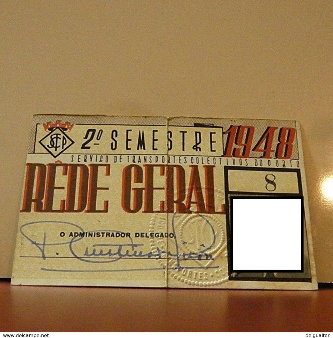 Season Ticket - Passe - Portugal - STCP - 1948 - See Grade Please - Europe