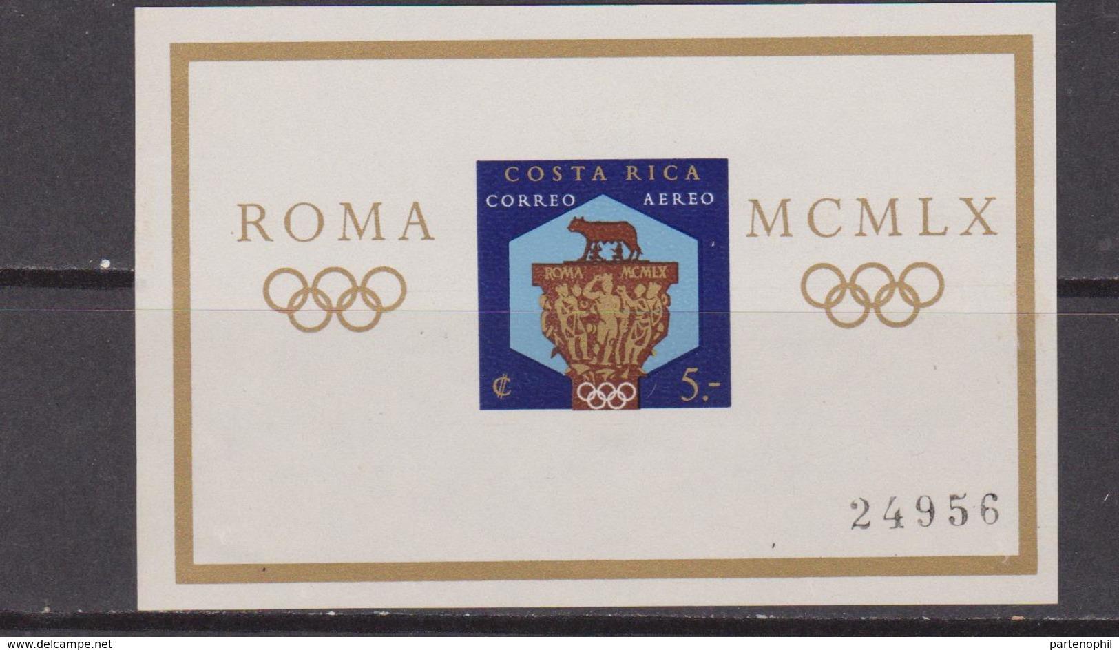 Costa Rica 1960 Mi. Bl. 4 A Foglietto 100% ** Giochi Olimpici, Roma - Costa Rica