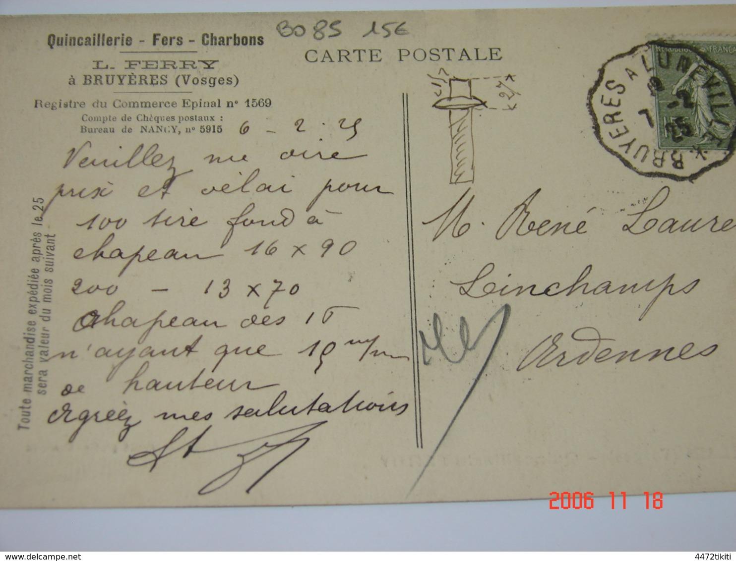 C.P.A.- Bruyères (88) - Quincaillerie Fers & Charbons - Maison L.Ferry - 1925 - SUP (BO 85) - Bruyeres