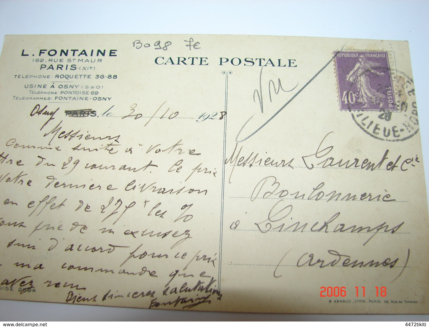 C.P.A.- Osny (95) - Entreprise L.Fontaine - Siège Paris - Usine à Osny - 1928 - SUP (BO 98) - Osny
