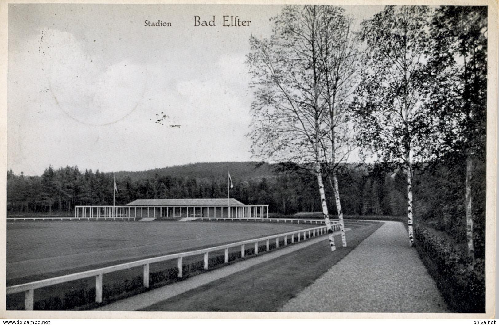 1934 ALEMANIA , TARJETA POSTAL CIRCULADA, BAD ELSTER , ESTADIO , STADION , STADIUM - Estadios