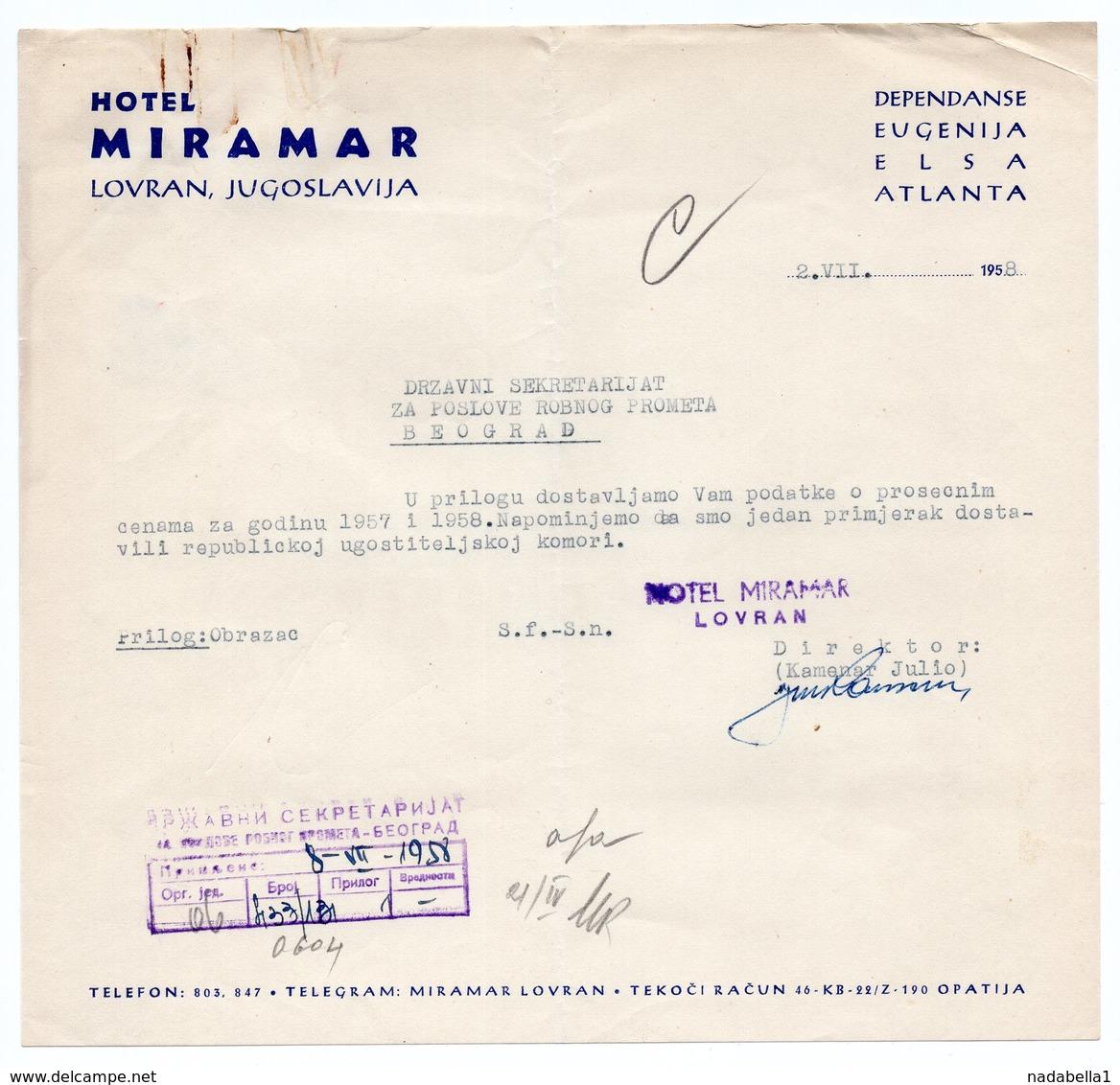 1958 YUGOSLAVIA, CROATIA, LOVRAN, HOTEL MIRAMAR, LETTERHEAD - Invoices & Commercial Documents