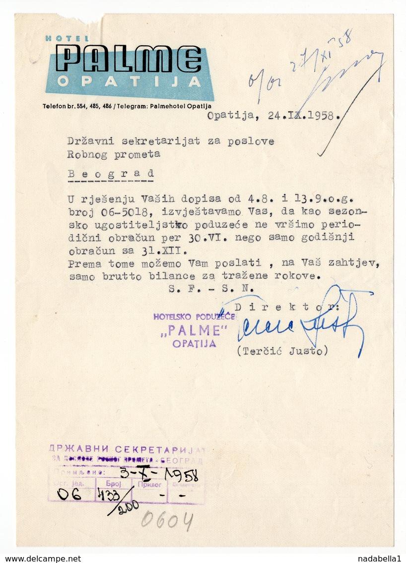 1958 YUGOSLAVIA, CROATIA, OPATIJA, HOTEL PALME, LETTERHEAD - Invoices & Commercial Documents