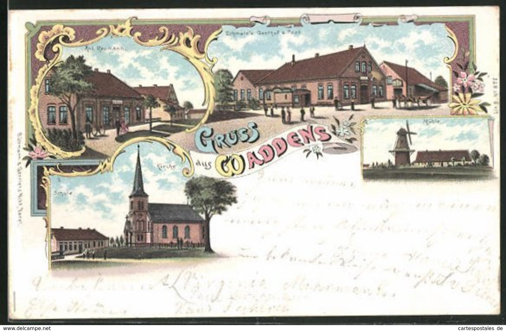 Lithographie Waddens, Schmale`s Gasthof & Post, Gasthaus Ant. Reumann, Mühle - Allemagne
